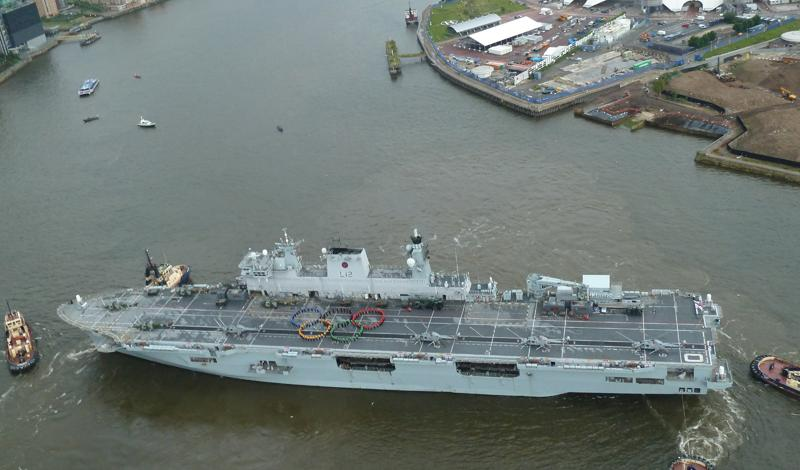 HMS Ocean Begins Olympic Role With Impressive Rings Display