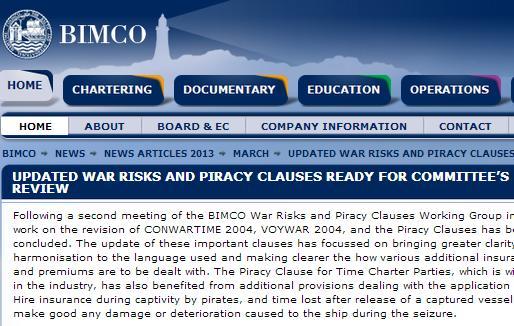 War Risks and Piracy Clauses Ready