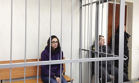 British Greenpeace activist Alexandra Harris in court in Murmansk, Russia. Photograph: Shaun Walker