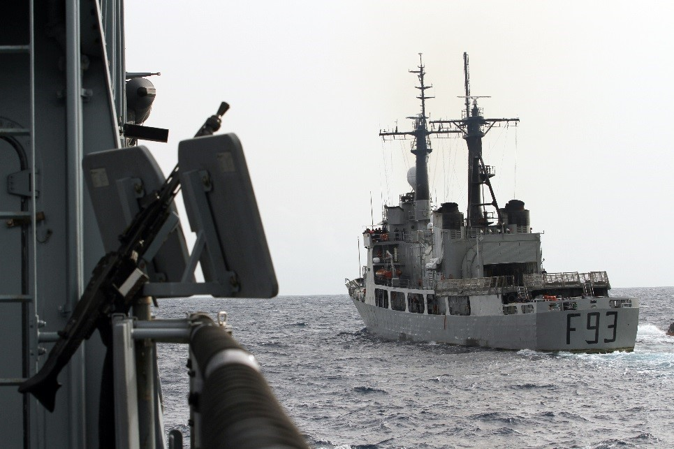 NNS OKPABANA intercepts the German frigate BRANDENBURG, which simulates a tanker carrying a cargo of stolen oil, on 24 March 2015. (Photo: German Navy/Steve Back)